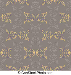 Seamless vector pattern with decorative overlapping shapes in organic brown colors. Texture for web and print, spring fashion fabric or textile, background for wedding invitation or presentation slide