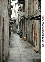 vintage pavement alley in Macau