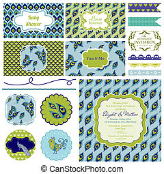 Vintage Peacock Party Set - for Party Decoration, Scrapbook, Wedding - in vector
