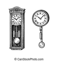 Vintage pendulum clock. Ink sketch isolated on white ...