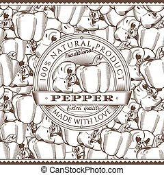 Vintage Pepper Label On Seamless Pattern