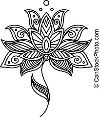 Vintage persian paisley floral design element with a dainty black and white outline style with a large flower head
