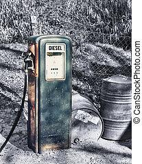 Vintage petrol pump face - Vintage petrol pump - retro color...