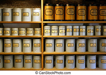Vintage pharmacy canisters - Background image of old...