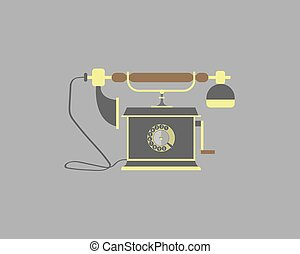 Vintage phone on a gray background. Vector illustration.