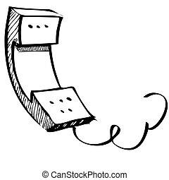 Vintage phone sketch cartoon illustration