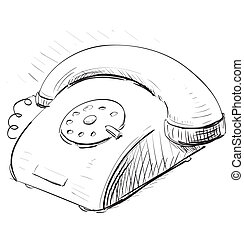 Vintage phone sketch cartoon vector illustration