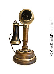 vintage phone - vintage old fashioned brown phone isolated ...