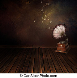 Vintage phonograph on Art abstract background - Music...