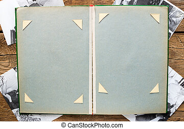 Vintage photo album and black and white photographs