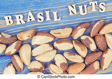 Vintage photo, Brasil nuts containing natural minerals and ...