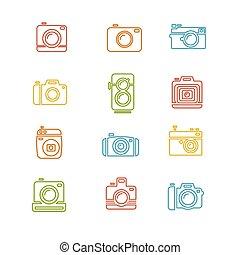 Vintage Photo Camera Colorful Icon Line Art. Vector