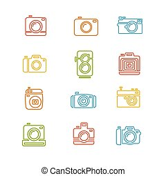 Vintage Photo Camera Colorful Icon Line Art. Vector