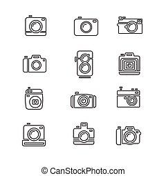 Vintage Photo Camera Icon Line Art. Vector