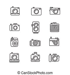 Vintage Photo Camera Icon Line Art. Vector