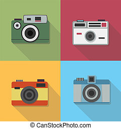Vintage photo camera icons set