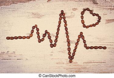Vintage photo, Cardiogram line of roasted coffee grains,...
