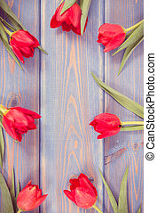 Vintage photo, Frame of fresh tulips on boards, copy space for text