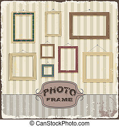 Vintage Photo frame template. Vector illustration