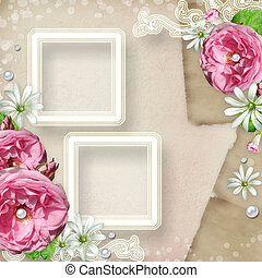 Vintage Photo Frame with roses
