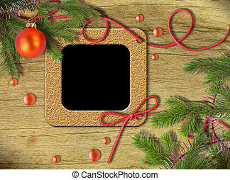 Vintage photo frames and Christmas tree
