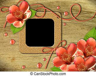 Vintage photo frames and flowers orange