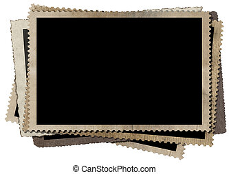 A stack of old vintage photo frames isolated on white background