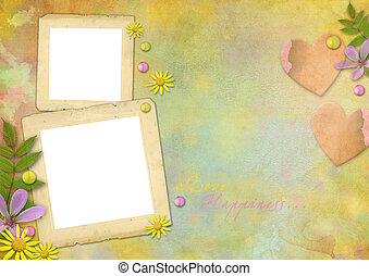 vintage photo frames on the abstract varicolored paper background with the flowers and hearts