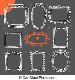 Vintage photo frames. Set of hand drawn vector design elements