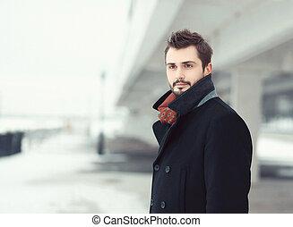 Vintage photo handsome stylish bearded brunette man in black...