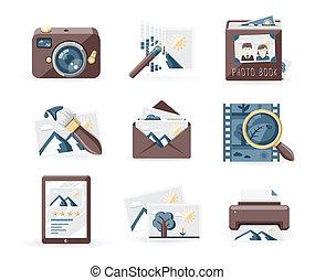 Vintage photo icons - Photography icons set, retro style