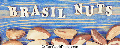 Vintage photo, Inscription brasil nuts and fruits as source ...