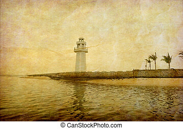 Vintage photo of lighthouse tower