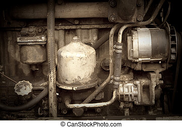 Vintage photo of  old engine