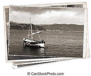 Vintage photo Old wooden sail ship