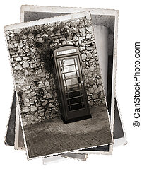 Vintage photo Phone booth - Vintage photos old telephone box...
