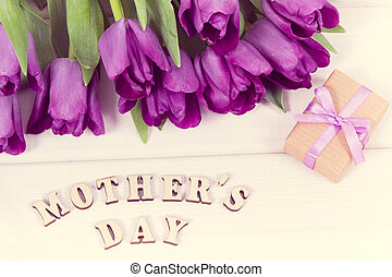 Vintage photo, Purple tulips and gift for mother's day on boards