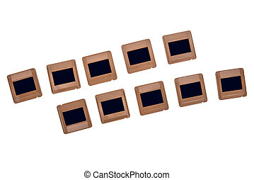 Vintage photo slides in a rows on white background