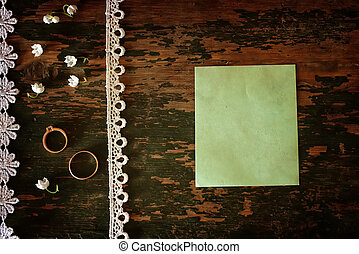 Vintage photo Wedding bouquet of lilies of the valley and ring