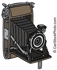 Hand drawing of a retro photographic camera with bellows - not a real model