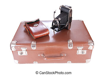 Vintage photography camera with leather case
