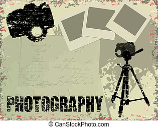 Vintage poster with instant photos, letters and photo cameras