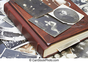 Vintage photos with Family Album - Close up of an album and...