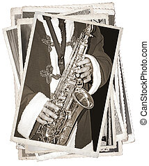 Vintage photos with saxophonist