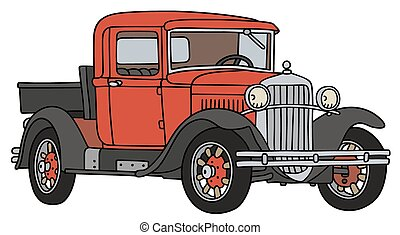 Vintage pick-up - Hand drawing of a vintage red pick-up -...