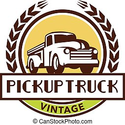 Vintage Pick Up Truck Circle Wreath Retro - Illustration of...