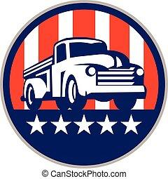Vintage Pick Up Truck USA Flag Circle Retro