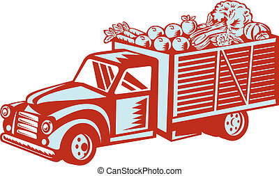 Vintage Pickup Truck Delivery Harvest Retro - Illustration...