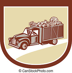 Vintage Pickup Truck Delivery Harvest Shield Retro