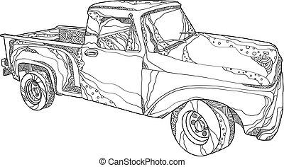 vintage-pickup-truck-doodle